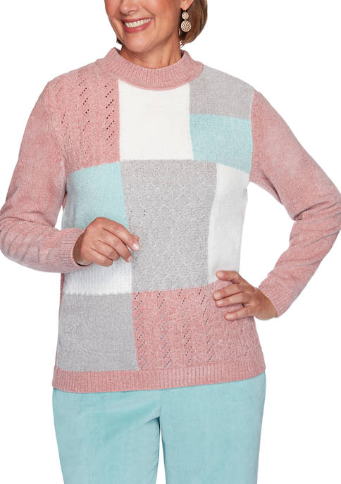 Alfred Dunner Womens St Moritz Chenille Colorblock Sweater