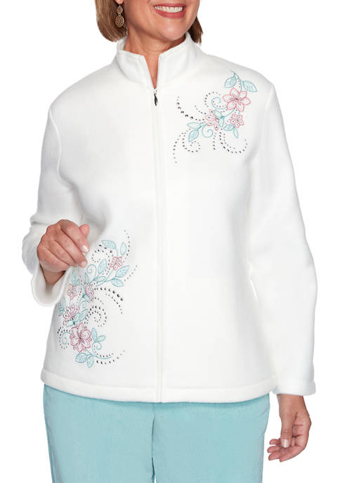 Petite St Moritz Asymmetric Floral Fleece Jacket