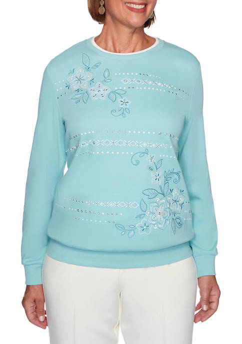 Alfred Dunner Petite St Moritz Embroidered Floral Pullover