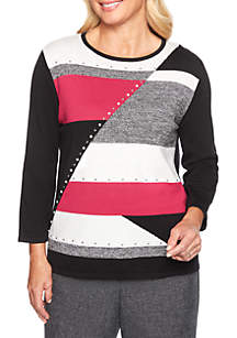 Alfred Dunner Finishing Touch Colorblock Sweater