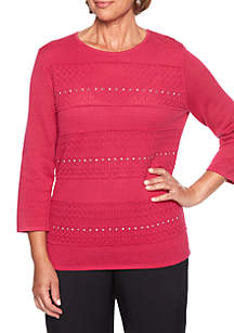 Finishing Touch Textured Biadere Sweater