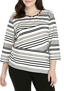 Plus Size Spliced Stripe Knit Top