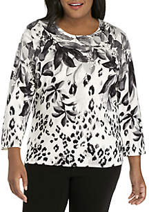 Plus Size Falling Leaves Sweater