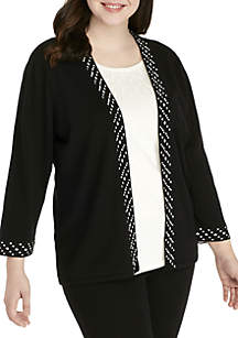 Plus Size Pearl Beaded 2Fer Sweater