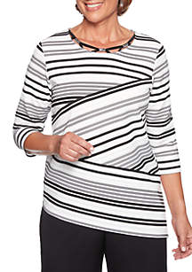 Petite Finishing Touch Spliced Striped Knit Top