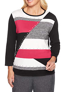 Petite Finishing Touch Colorblock Sweater