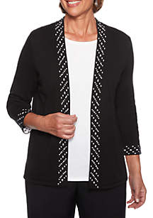 Petite Finishing Touch Pearl Beaded 2Fer Sweater