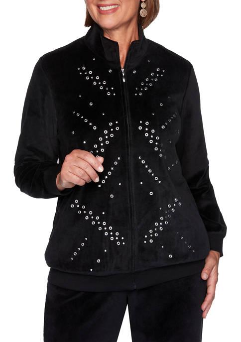 Alfred Dunner Womens Modern Living Grommet Jacket