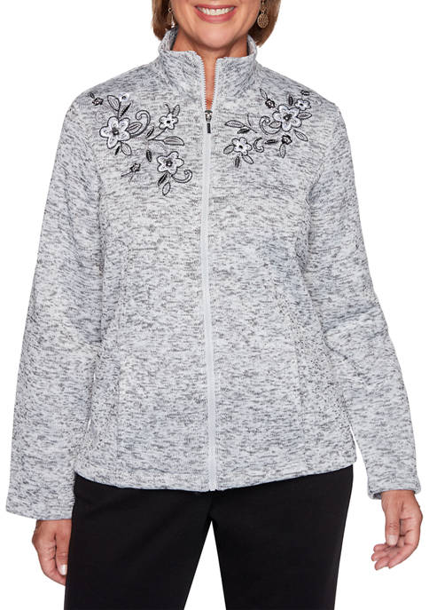 Alfred Dunner Womens Modern Living Embroidered Melange Jacket