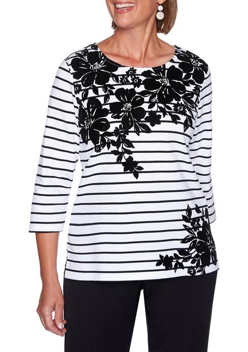 Alfred Dunner Womens Modern Living Floral Yoke Stripe