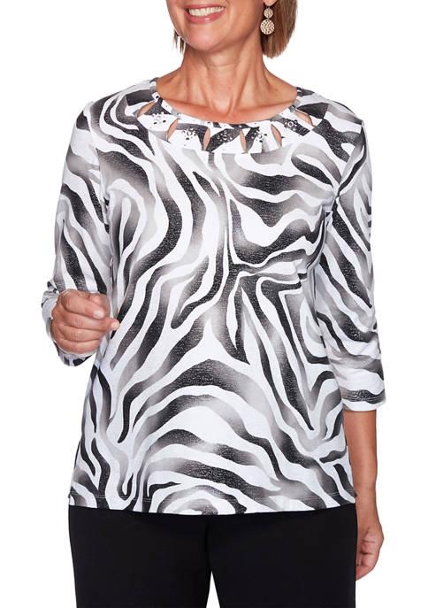 Womens Modern Living Animal Shimmer Print Top
