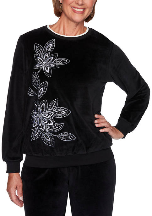 Plus Size Modern Living Velour Floral Top