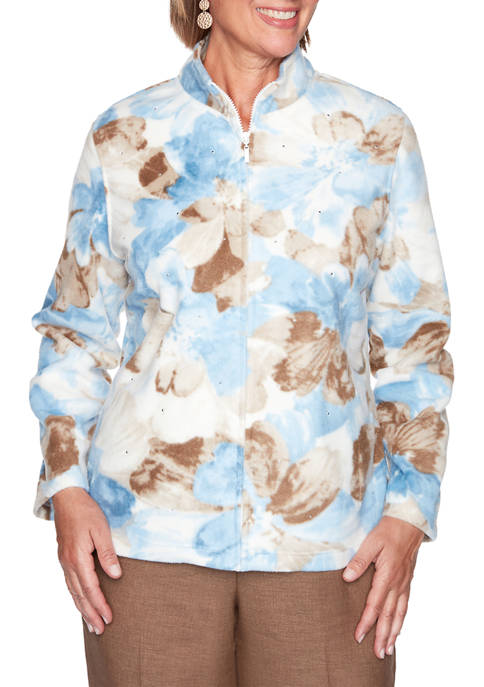 Alfred Dunner Womens Dover Cliffs Watercolor Floral Fleece