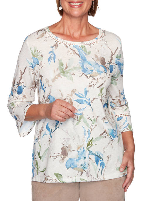 Alfred Dunner Womens Dover Cliffs Abstract Birds Top