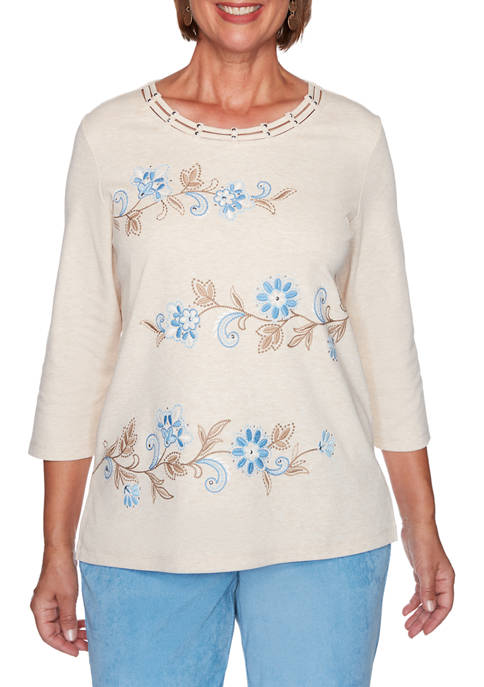 Womens Dover Cliffs Floral Scroll Biadere Top