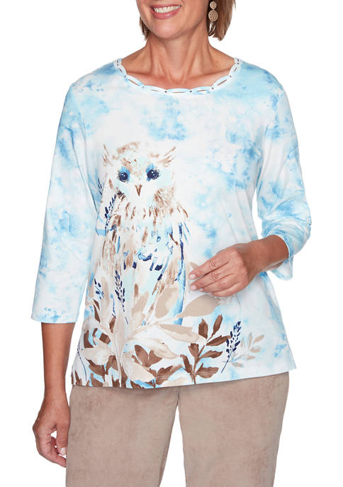 Alfred Dunner Womens Dover Cliffs Snowy Owl TOp