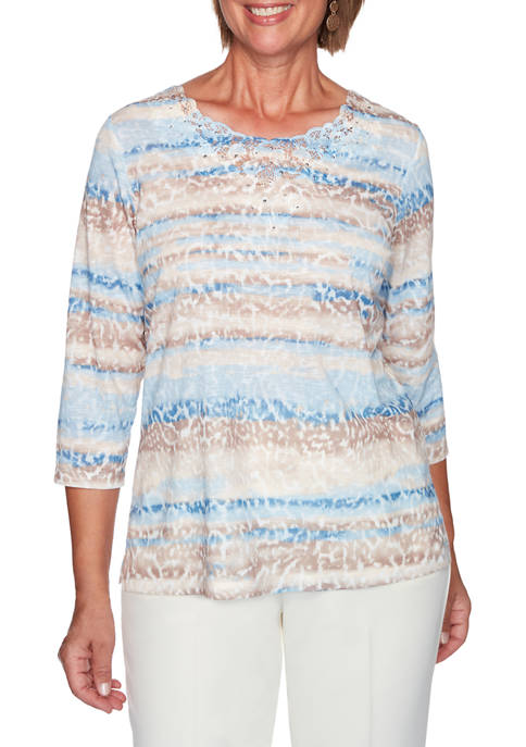 Alfred Dunner Womens Dover Clifs Skin Biadere Print