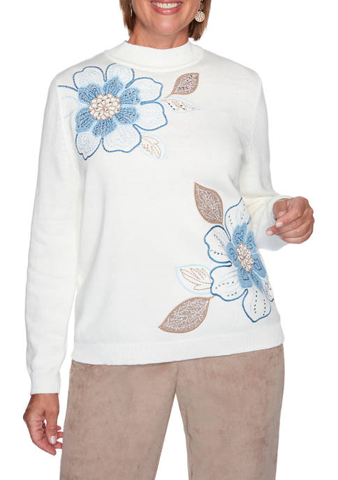 Alfred Dunner Womens Dover Cliffs Asymmetric Floral Embroidered