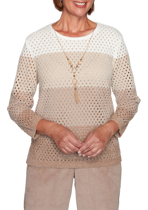 Alfred Dunner Plus Size Dover Cliffs Chenille Sweater