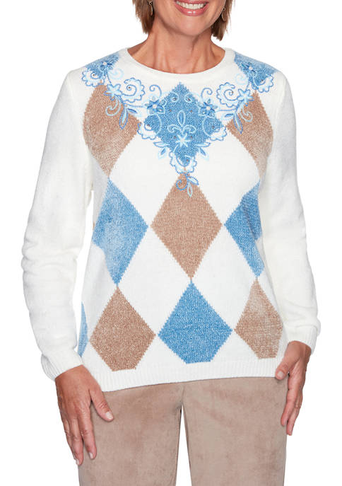 Petite Dover Cliffs Argyle Floral Sweater