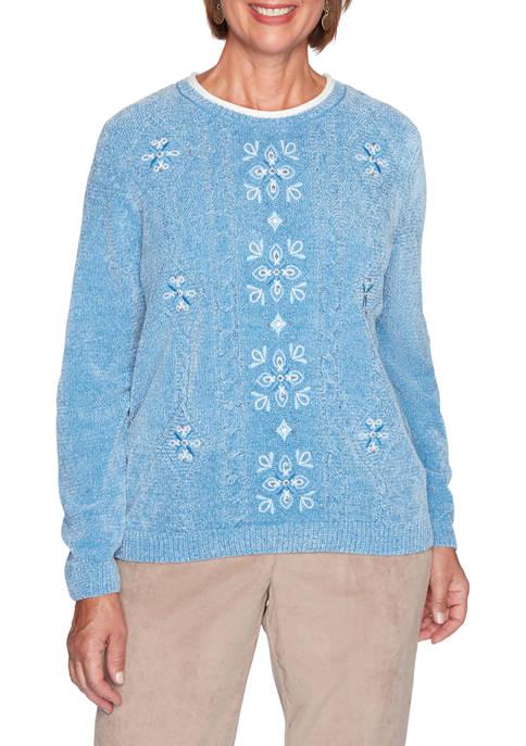 Alfred Dunner Petite Dover Cliffs Medallion Chenille Sweater