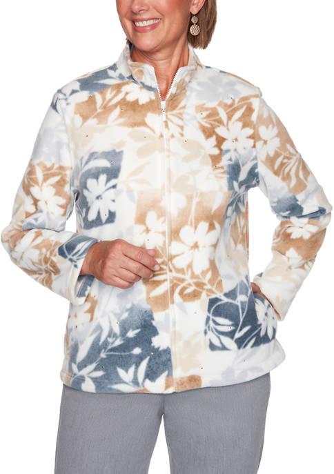 Womens Floral Patchwork Fleece Jacket