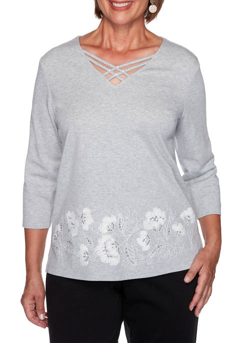 Womens Glacier Lake Floral Embroidery Knit T-Shirt