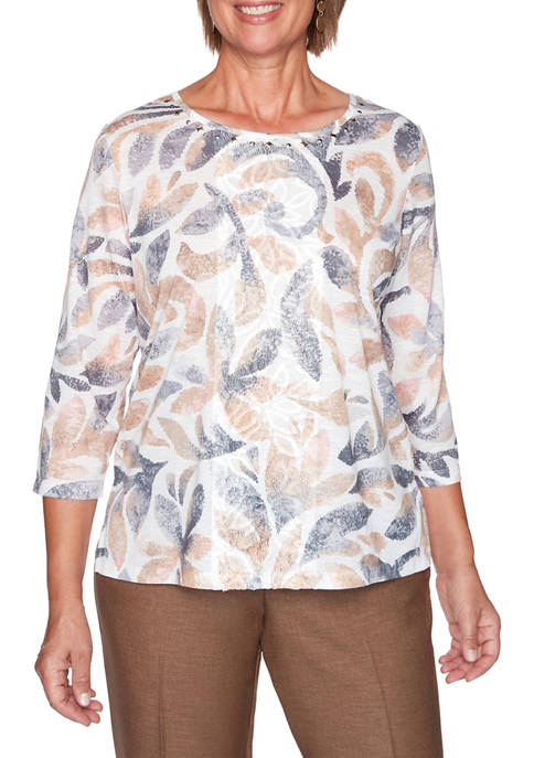 Alfred Dunner Womens Glacier Lake Texture Scroll Print
