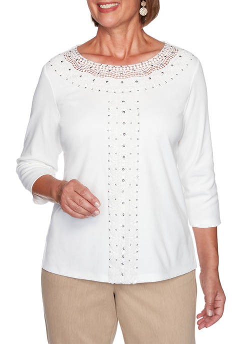 Alfred Dunner Womens Glacier Lake Crochet Knit Top