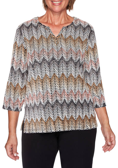Alfred Dunner Plus Size Glacier Lake Chenille Zig