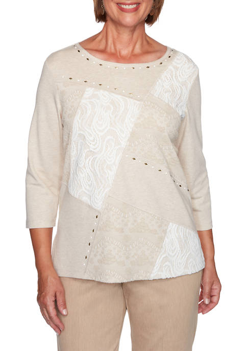 Alfred Dunner Petite Glacier Lake Lace Patchwork Top