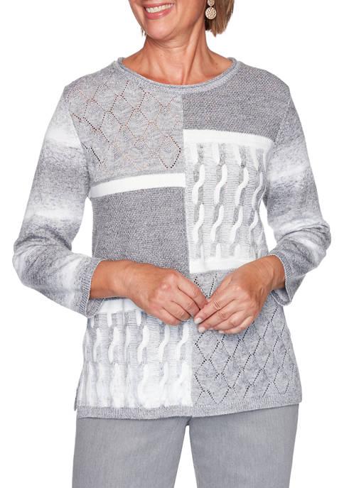 Petite Glacier Lake Color Block Knit Top