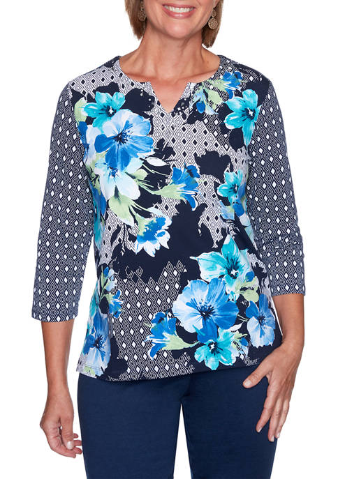 Alfred Dunner Womens Vacation Mode Floral Diamond Patchwork