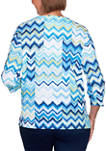 Womens Vacation Mode Chevron Patch Top
