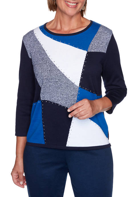 Alfred Dunner Womens Vacation Mode Color Block Sweater
