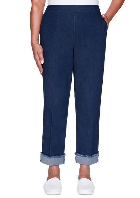 Alfred Dunner Womens Denim Friendly Ankle Cuff Pants
