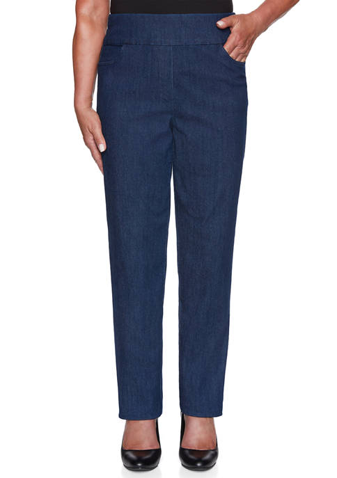 Alfred Dunner Womens Denim Friendly Super Stretch Pull
