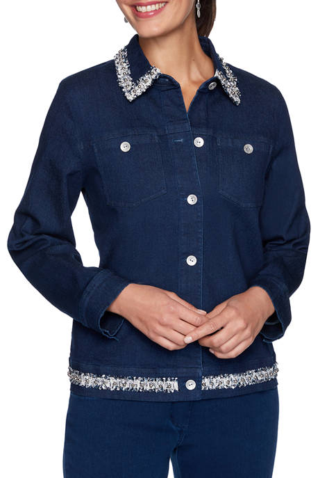 Alfred Dunner Womens Denim Friendly Jacket with Boucle