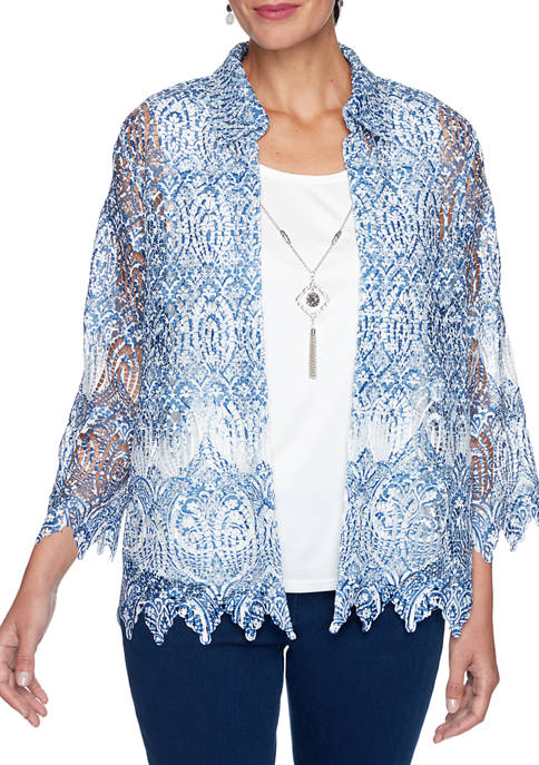 Womens Denim Friendly Medallion Border Lace Two for One Top