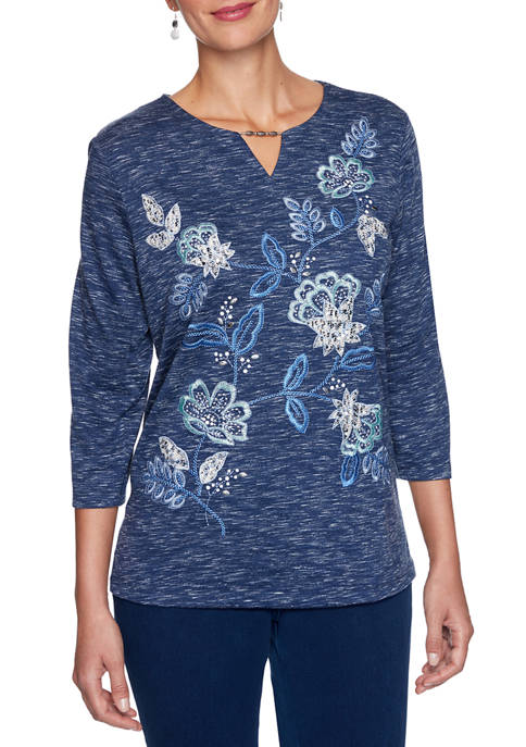 Alfred Dunner Womens Denim Friendly Allover Floral Embroidered