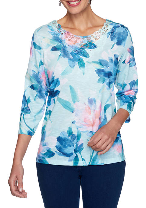 Alfred Dunner Womens Denim Friendly Watercolor Floral Knit