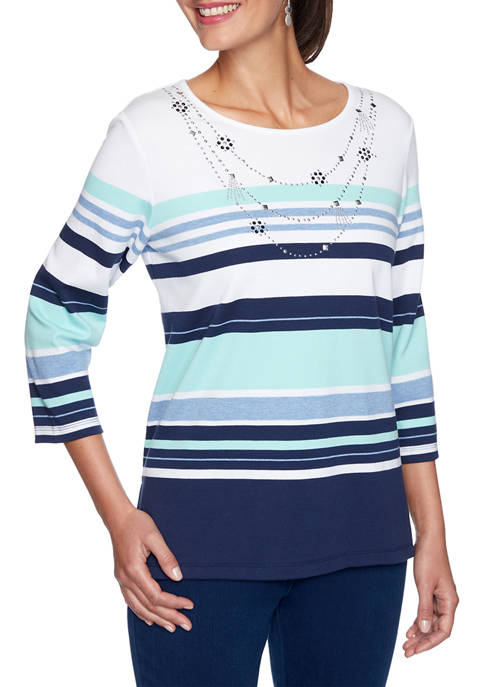Alfred Dunner Womens Denim Friendly Stripe Knit Top