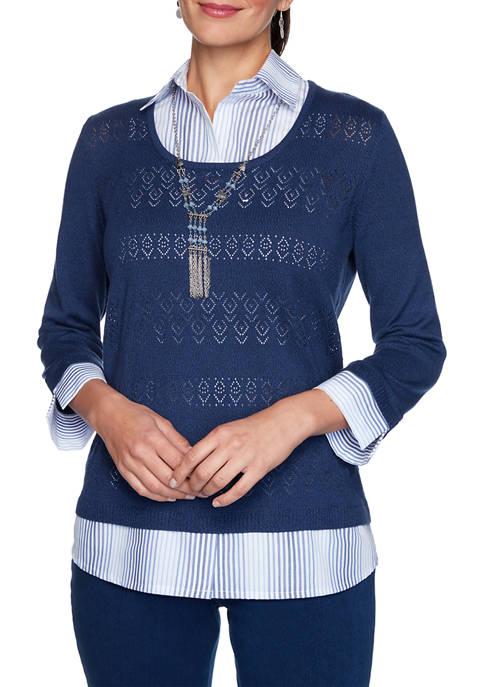 Alfred Dunner Womens Denim Friendly 2Fer Sweater