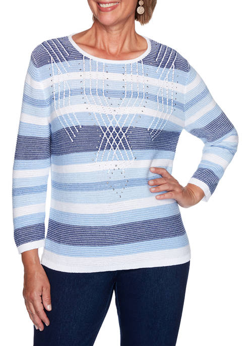 Alfred Dunner Womens Denim Friendly Textured Stripe Sweater