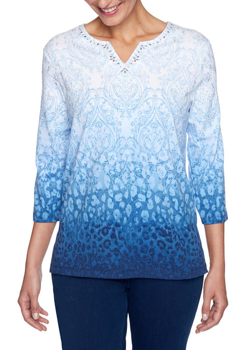 Alfred Dunner Plus Size Denim Friendly Ombré Print