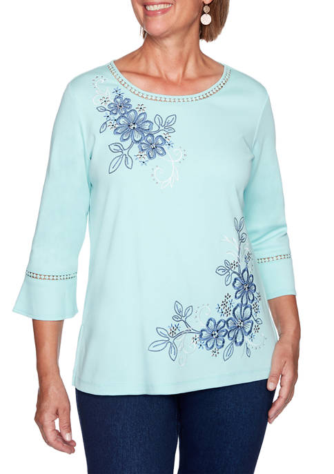 Alfred Dunner Plus Size Denim Friendly Asymmetrical Embroidered