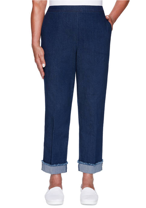 Alfred Dunner Petite Denim Friendly Ankle Cuff Pants