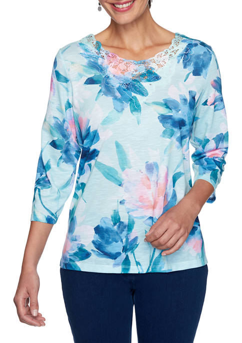 Alfred Dunner Petite Denim Friendly Watercolor Floral Knit