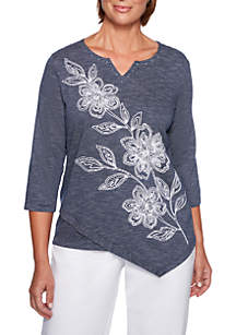 Greenwich Hills Asymmetrical Floral Knit Top
