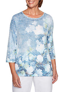 Greenwich Hills Watercolor Floral Knit Top